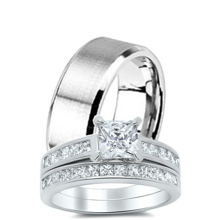 Laraso Co His Hers Cz Rings Wedding Engagement Band Set For