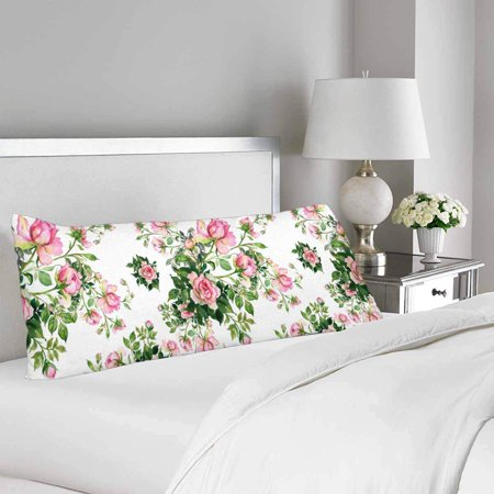 GCKG Watercolor Seamless Pattern Roses Bouquet Body Pillow Covers Case Protector 20x60 inches - image 1 de 2