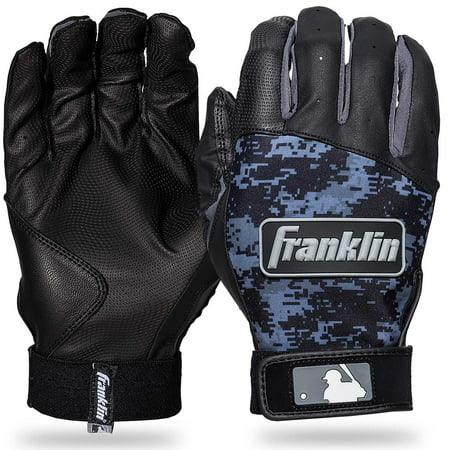 Franklin Sports Digitek Batting Gloves Black/Black Digi Adult Medium Adult Baseball Batting Gloves