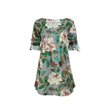 Tunic Dress For Women Casual Summer Beach Floral Sundress Short Sleeve Mini Dress Party Loose Long Shirt #WAD
