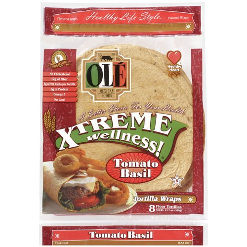 "OLE Mexican Foods Xtreme Wellness! Tomato Basil 8"" Tortillas, 8 ct"