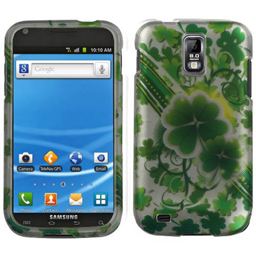 Samsung T989 Galaxy S II MyBat Protector Case, Lizzo Lucky Clovers 2D Silver