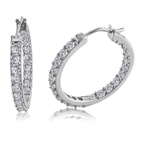 Amour Round Cut Sapphire Hoop Earrings