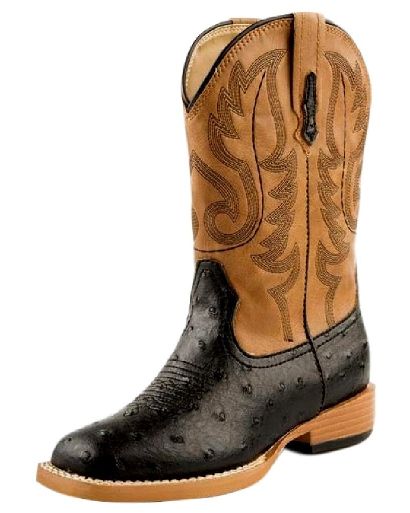 Roper Western Boots Mens Faux Ostrich Black Brown 09-020-1900-0050 BL