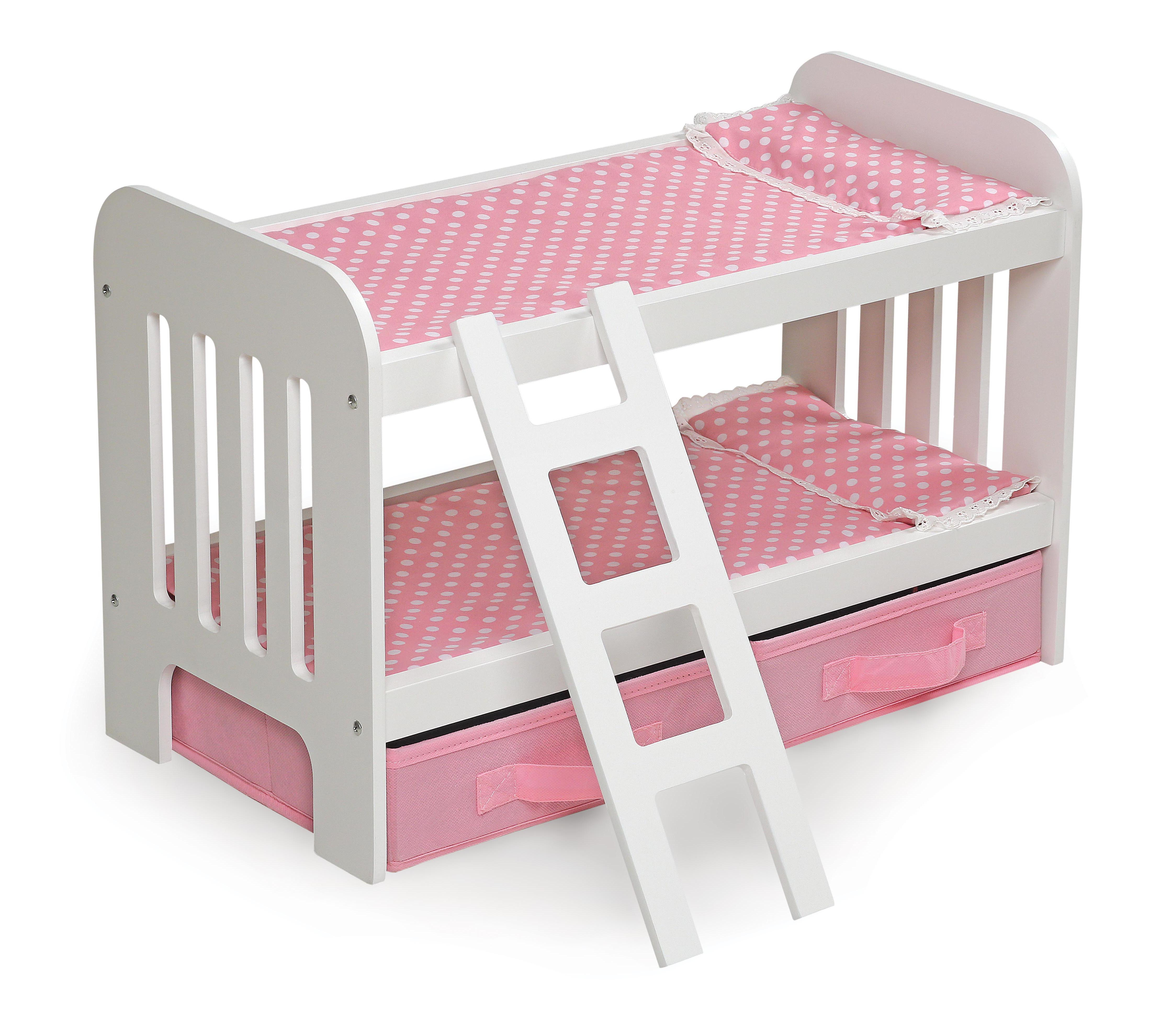 Badger Basket Doll Bunk Bed with Ladder and Two Storage Baskets Pink Polka Dot Fits American Girl, My Life As & Most... by Badger Basket