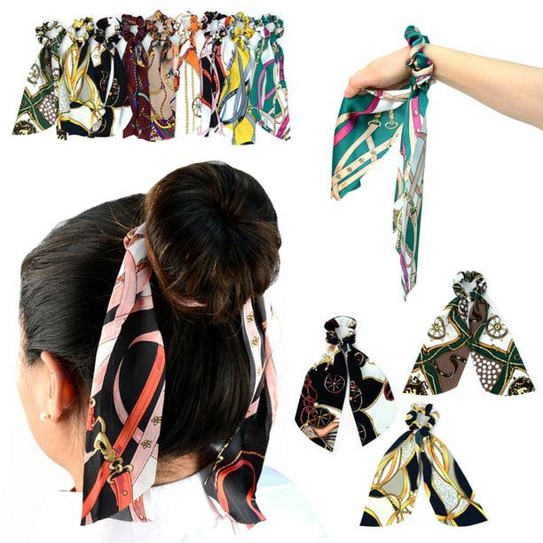 3 Pc Scrunchie Ribbon Hair Tie Elastic Band Scarf Ponytail Vintage