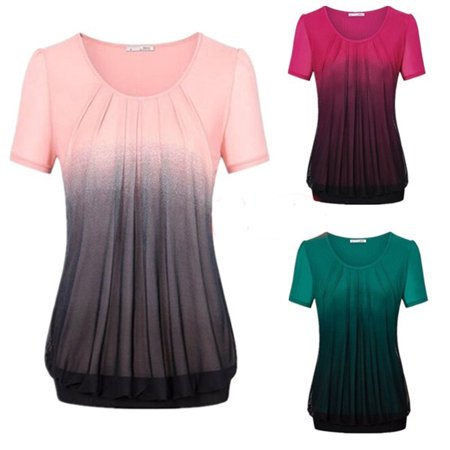 Women Fashion Round Neck Short Sleeve Gradient Color Printing Fold Slim Fit Casual Chiffon Blouse Top (Casual Slim Color)