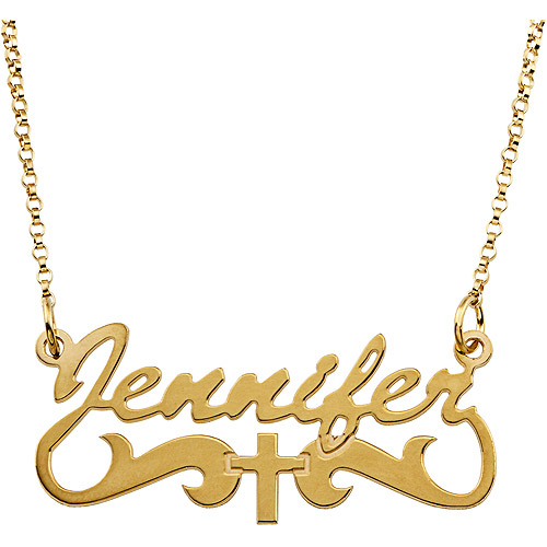 Personalized Women's Gold over Sterling Silver Name Necklace with Cross Tail, 18""