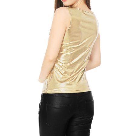 fb5701c117f3aa Unique Bargains Women s U Neck Stretchy Slim Fit Metallic Tank Top Gold (Size  XL ...