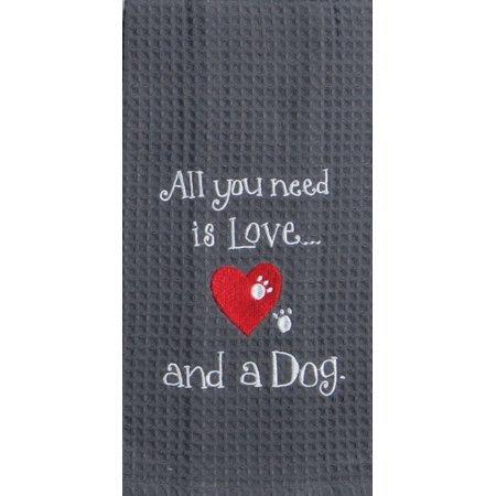 Embroidered Tea Towel (Kay Dee All You Need is Love and A Dog Embroidered Waffle Kitchen Dish Towel)