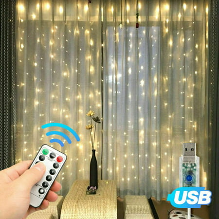 300 LED Curtain Fairy Lights Party Wedding USB String Hanging Wall Light Home Remote Control 8 Model(Warm White)](Led Hanging Lights)