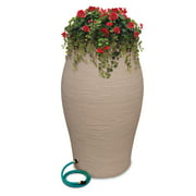 EMSCO Group Rescue 60-Gallon Basketweave Urn Rain Barrel ? Includes Planter, Rain Water Diverter, Outlet Hose ? Wicker Brown