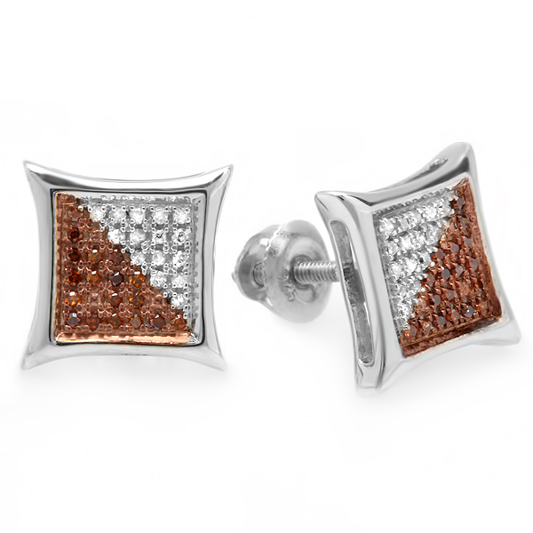 0.15 Carat (ctw) Red & White Round Diamond Micro Pave Setting Kite Shape Stud Earrings