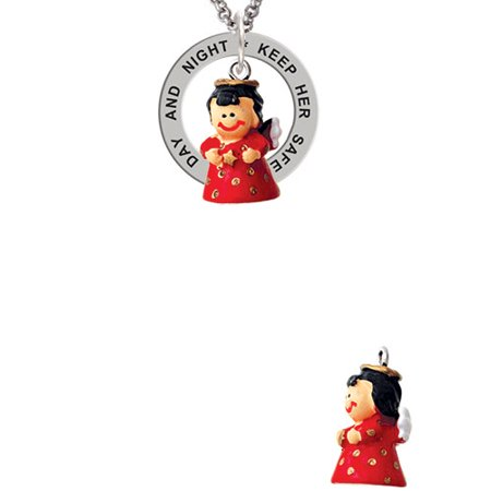 Resin Red Angel Holding Star Keep Her Safe Both Day And Night Affirmation Ring Necklace