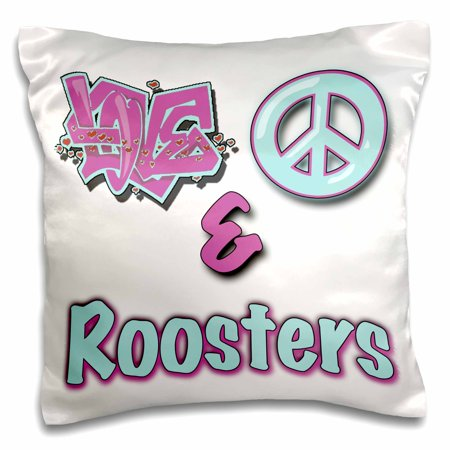 3dRose Love Peace And Roosters In Blue And Purple - Pillow Case, 16 by 16-inch ()