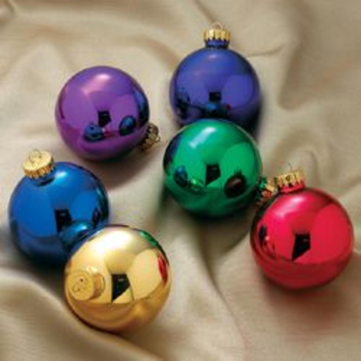 Pack of 6 Shiny Multi-Color Glass Ball Christmas Ornaments 2.5""
