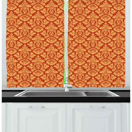 Antique Curtains 2 Panels Set, Royal Victorian Damask Pattern Baroque Rococo Old Fashioned Traditional Art, Window Drapes for Living Room Bedroom, 55W X 39L Inches, Vermilion Orange, by Ambesonne