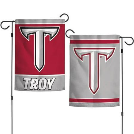 College 2 Sided Banner Flags - Troy University Garden Flag 2 Sided Logo Banner
