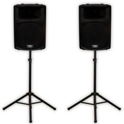 """Podium Pro PP1503A Powered 15"""" Active 1800 Watt Speaker Pair and Stands DJ PA PP1503ASET1"""