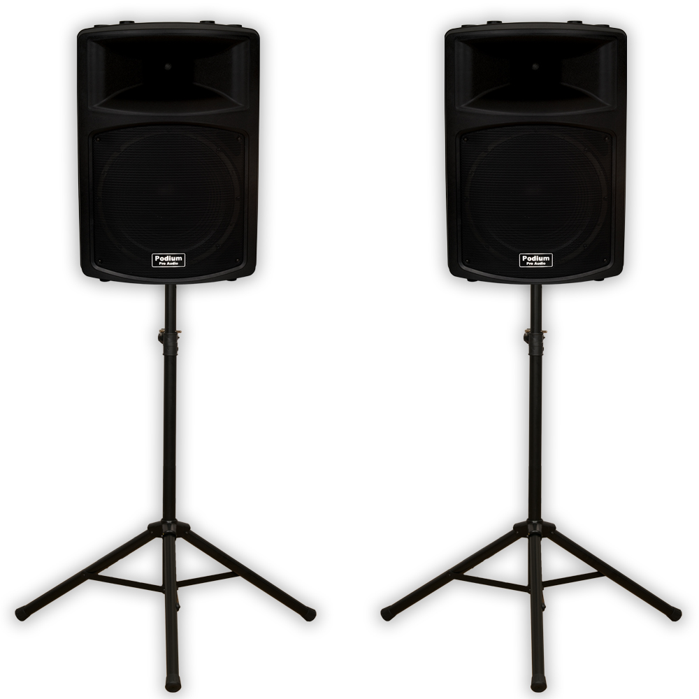 "Podium Pro PP1503A Powered 15"" Active 1800 Watt Speaker Pair and Stands DJ PA PP1503ASET1"