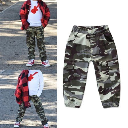 Cool Toddler Boys Army Camouflage Trousers Hip hop Long Pants Age 2-7 Years