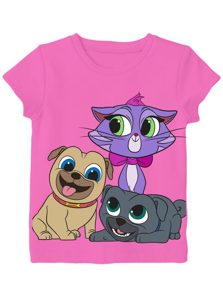 Disney Little Girls' Toddler Puppy Dog Pals Group Shot Tee, Hot Pink (4T)