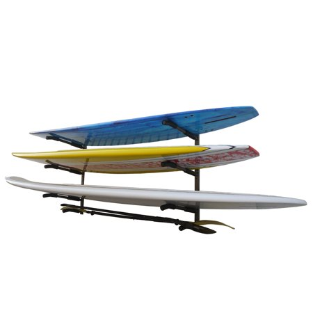 Glacik Wall Mount Rack Storage System for SUP/Paddle Boards & Surfboards, Holds 3 Boards, Powder-Coated Rust Prevention