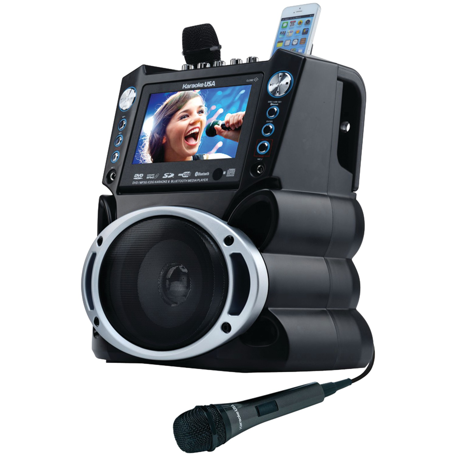 """Karaoke USA GF840 Complete Bluetooth Karaoke System - 35 Watt Power Output includes 2 Microphones, Remote Control, 7"""" Color Screen, Record Function. Plays DVD/CDG/MP3G / USB /SD"""