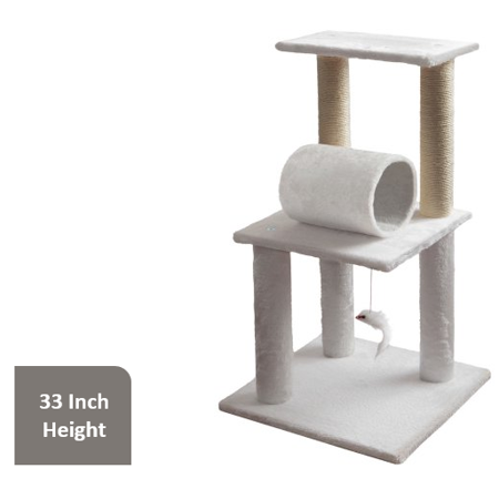 "Premium Cat Tree Cat Scratcher with Hanging Toy, 33"" H, White"