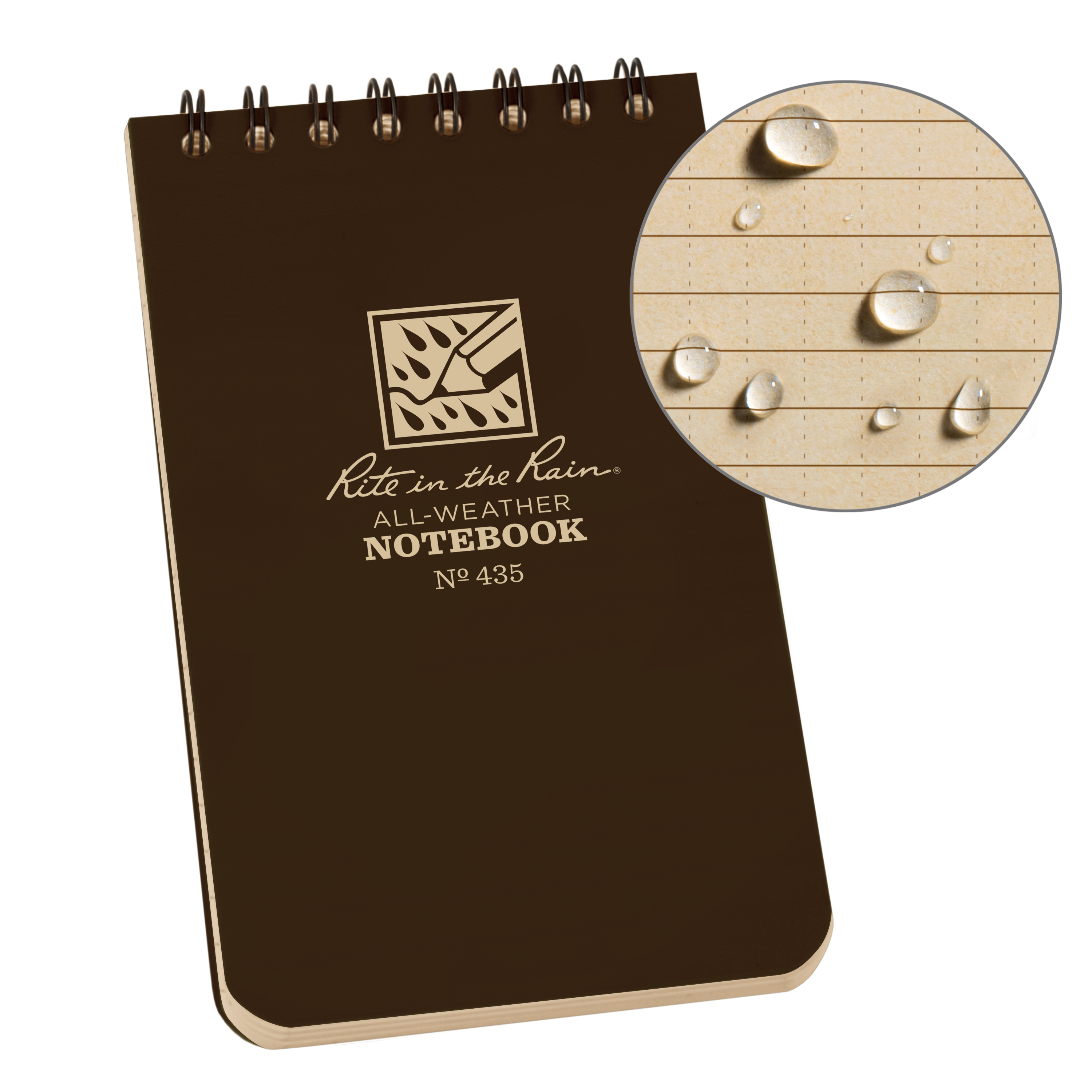 "Rite in the Rain All-Weather Top-Spiral Notebook, 3"" x 5"", Brown Cover, Universal Pattern (No. 435)"