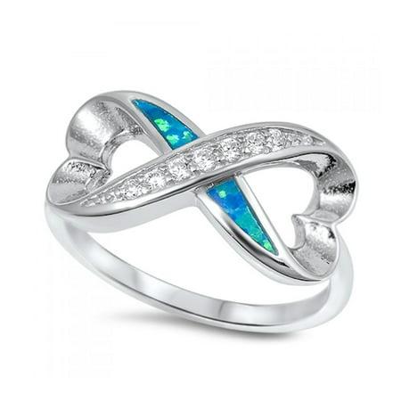 925 Sterling Silver Infinity Heart Shaped Lab opal Gem Ring Bi Color Tourmaline Gem