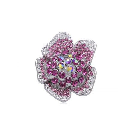 (New Guinea Impatiens Fuchsia Pink Crystal Rhinestone Flower Fashion Custom Ring)