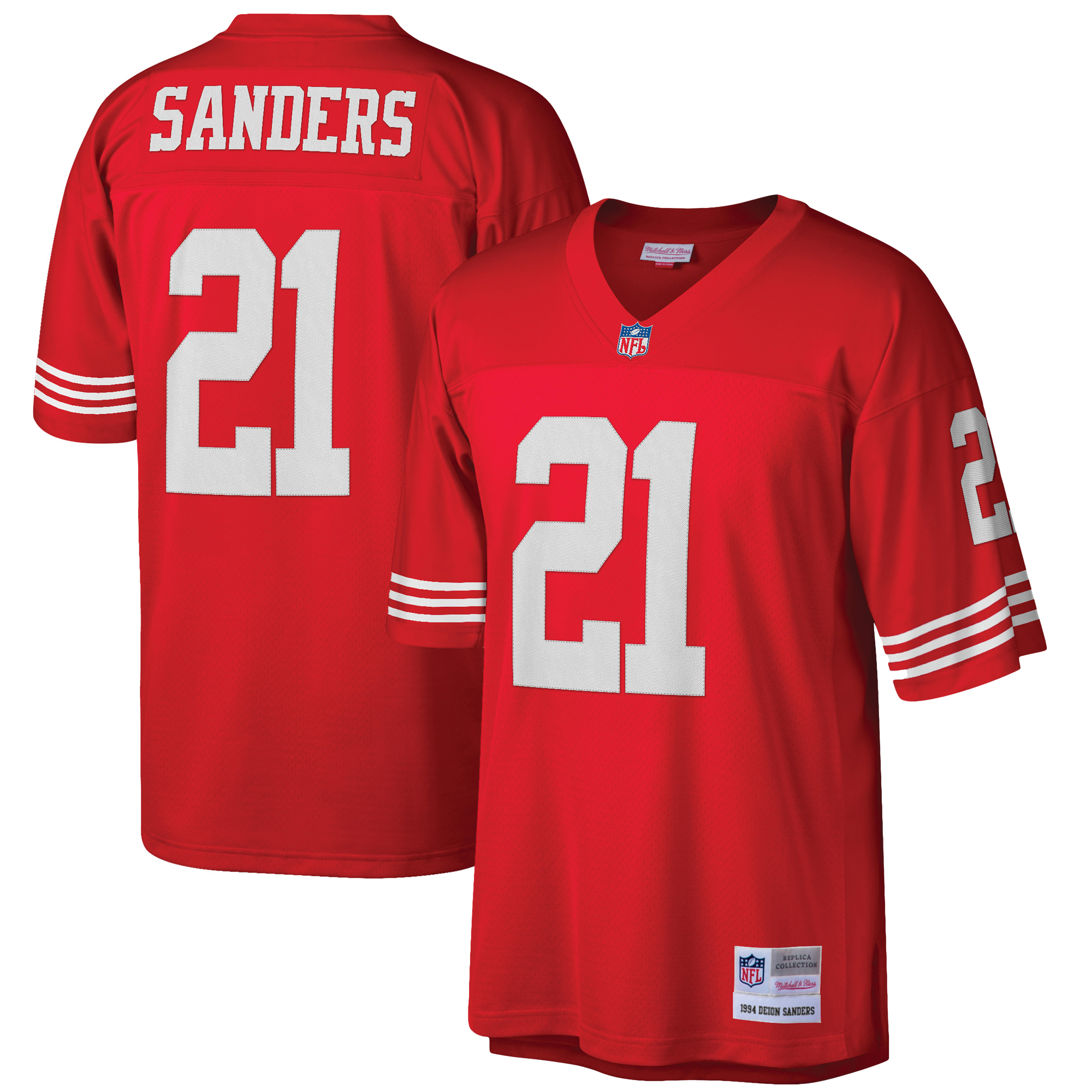 Deion Sanders San Francisco 49ers Mitchell & Ness Retired Player Vintage Replica Jersey - Scarlet
