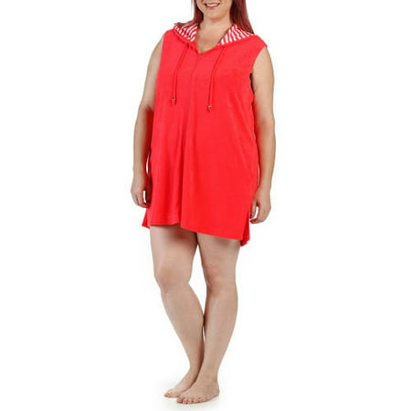 86612786f90 Catalina - Women s Plus-Size Hooded Zip-Front Terry Swim Cover-Up -  Walmart.com