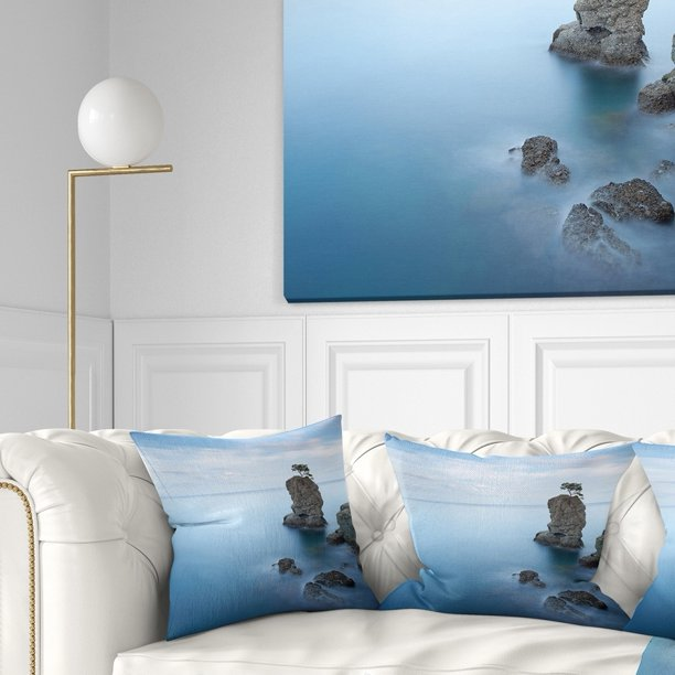 Design Art Designart Pine Tree Rock At Portofino Park Beach Photo Throw Pillow Walmart Com Walmart Com