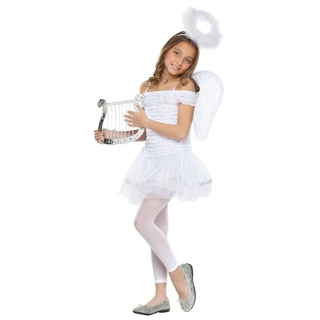 Child Girls Little Angel Fairy Heavenly Dress Wings Halo Headband White Costume](Halloween Angel Wings And Halo)