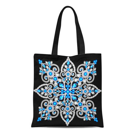 LADDKE Canvas Tote Bag Christmas Snowflake Crystal Precious Beautiful Jewelry Medallion Brooch Durable Reusable Shopping Shoulder Grocery Bag