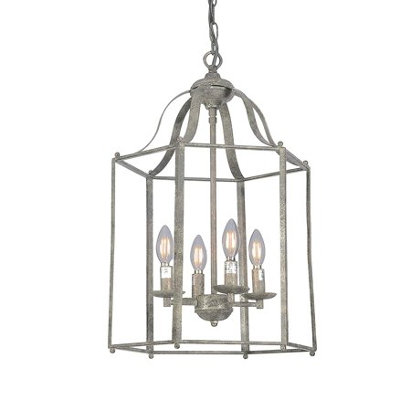 Wideskall 16 Oil Rubbed Bronze Finish Lantern Metal Iron Cage Chain Hanging Chandelier Ceiling