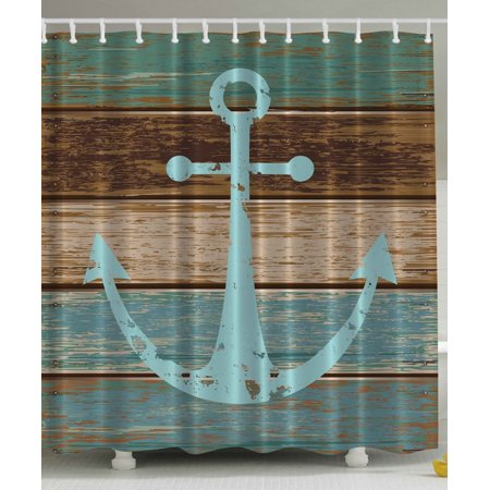 Nautical Anchor Rustic Wooden Planks Shower Curtain Extra Long 84 - Nautical Curtain