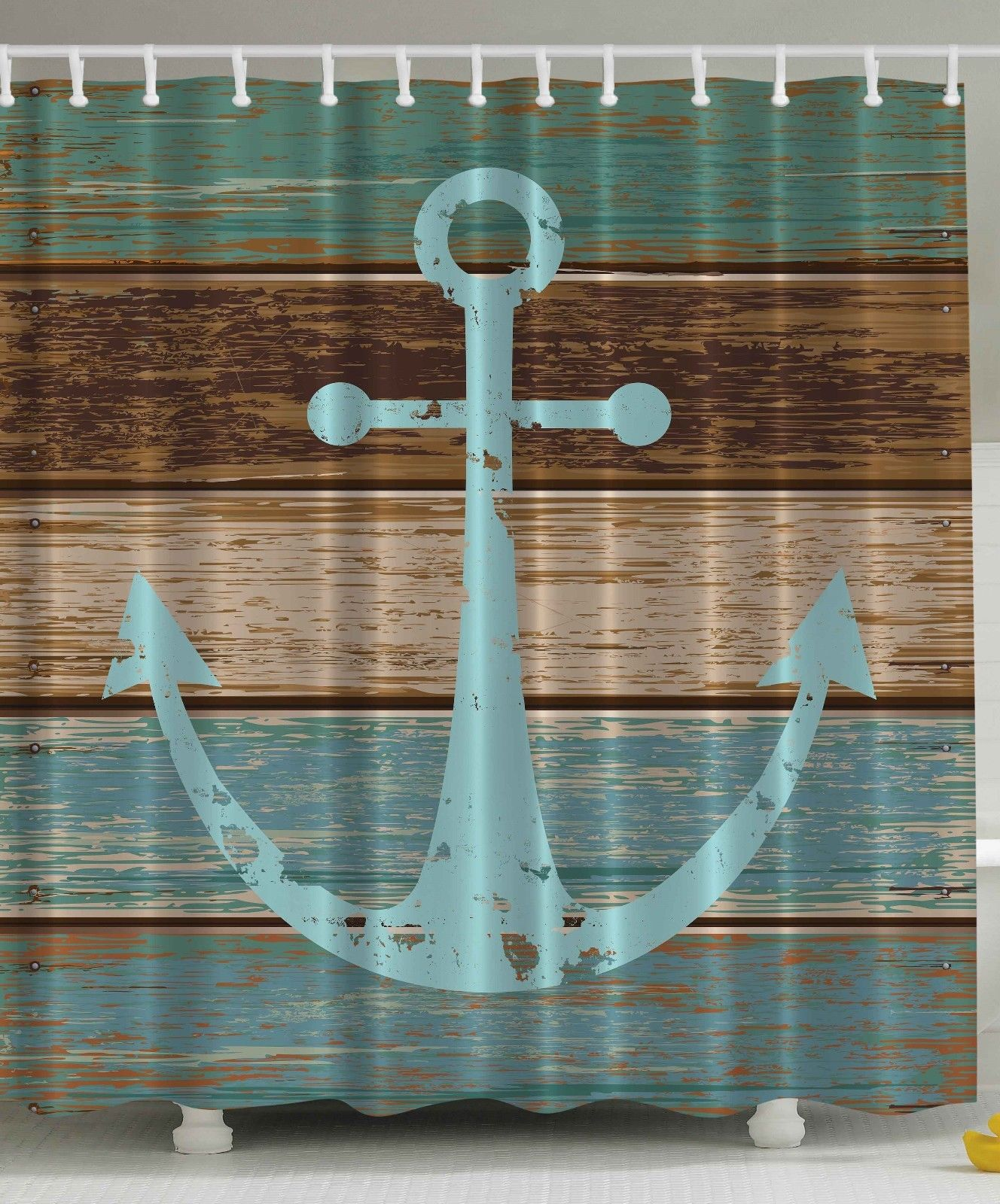Nautical Anchor Rustic Wooden Planks Shower Curtain Extra Long 84 Inch