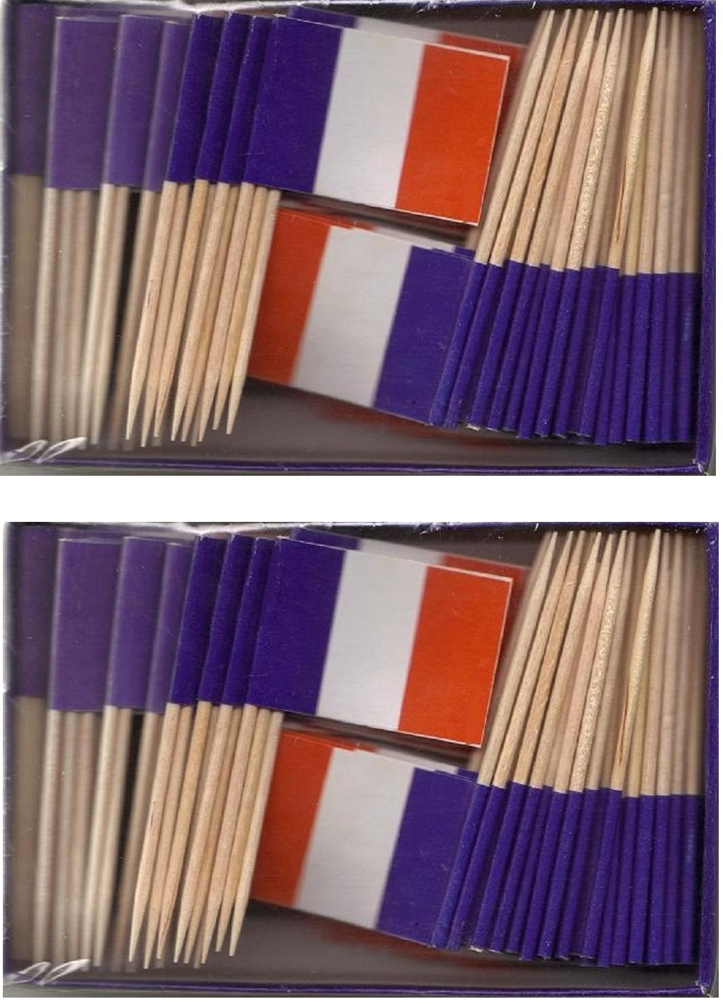 2 Boxes of Mini France Toothpick Flags, 200 Small French Flag Toothpicks or...