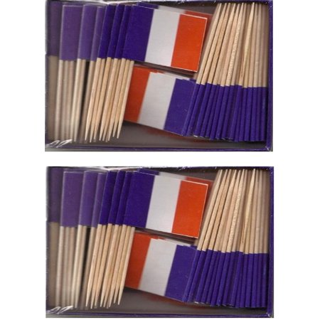 2 Boxes of Mini France Toothpick Flags, 200 Small French Flag Toothpicks or Cocktail Sticks & Picks (World Flag Toothpicks)