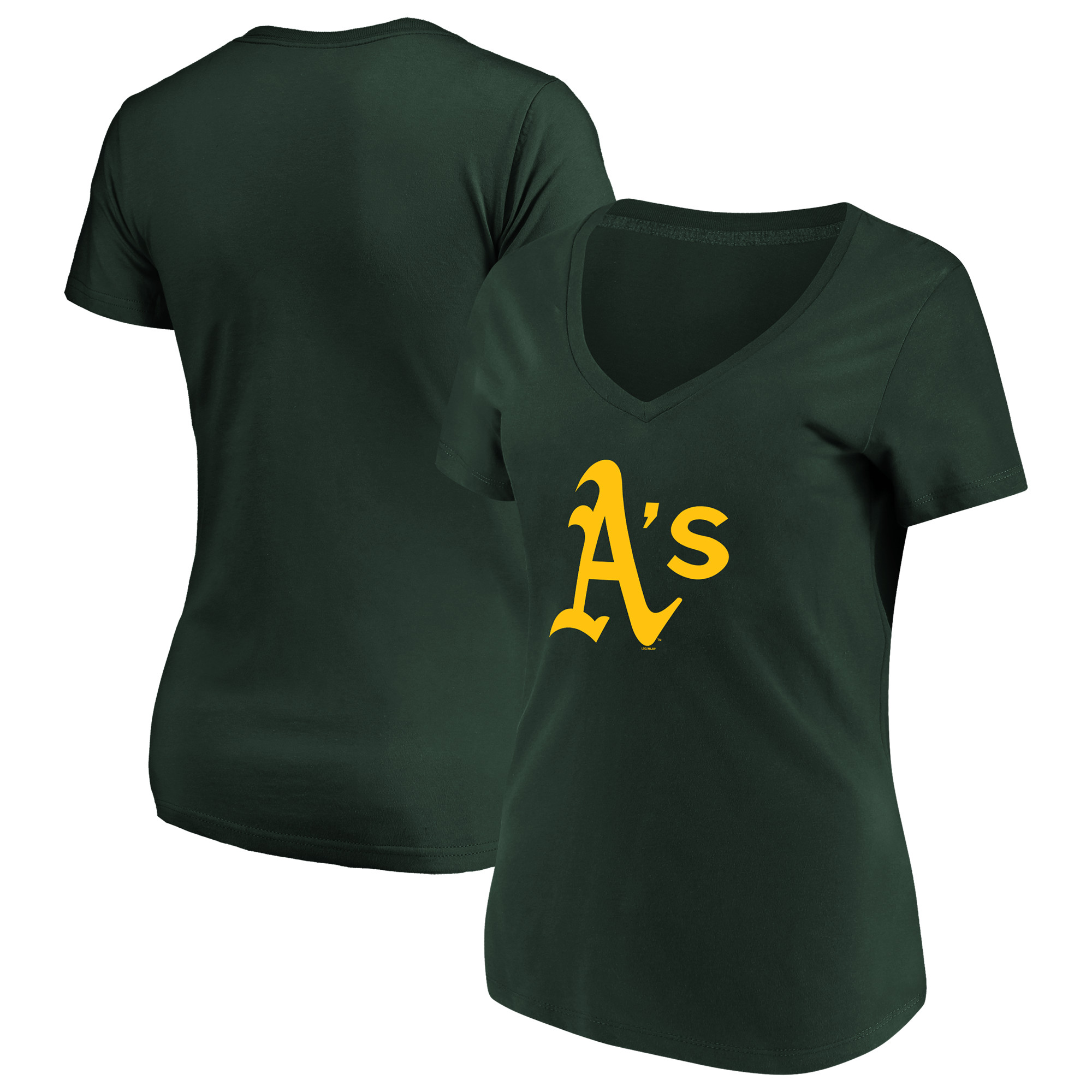Women's Majestic Green Oakland Athletics Top Ranking V-Neck T-Shirt