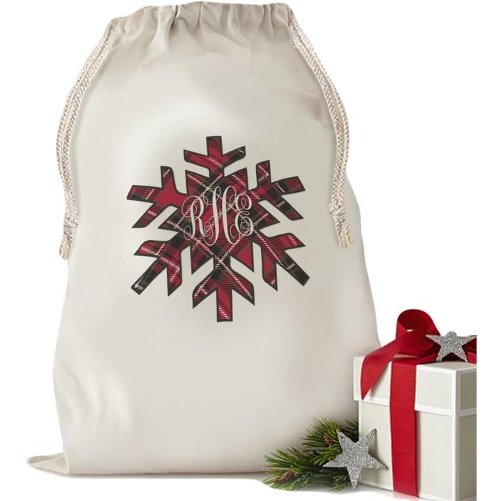 """Custom Gifts Snowflake Plaid Drawstring Bag (Small 13.3"""" x 18.75"""" or Large 19"""" x 27.75"""")"""