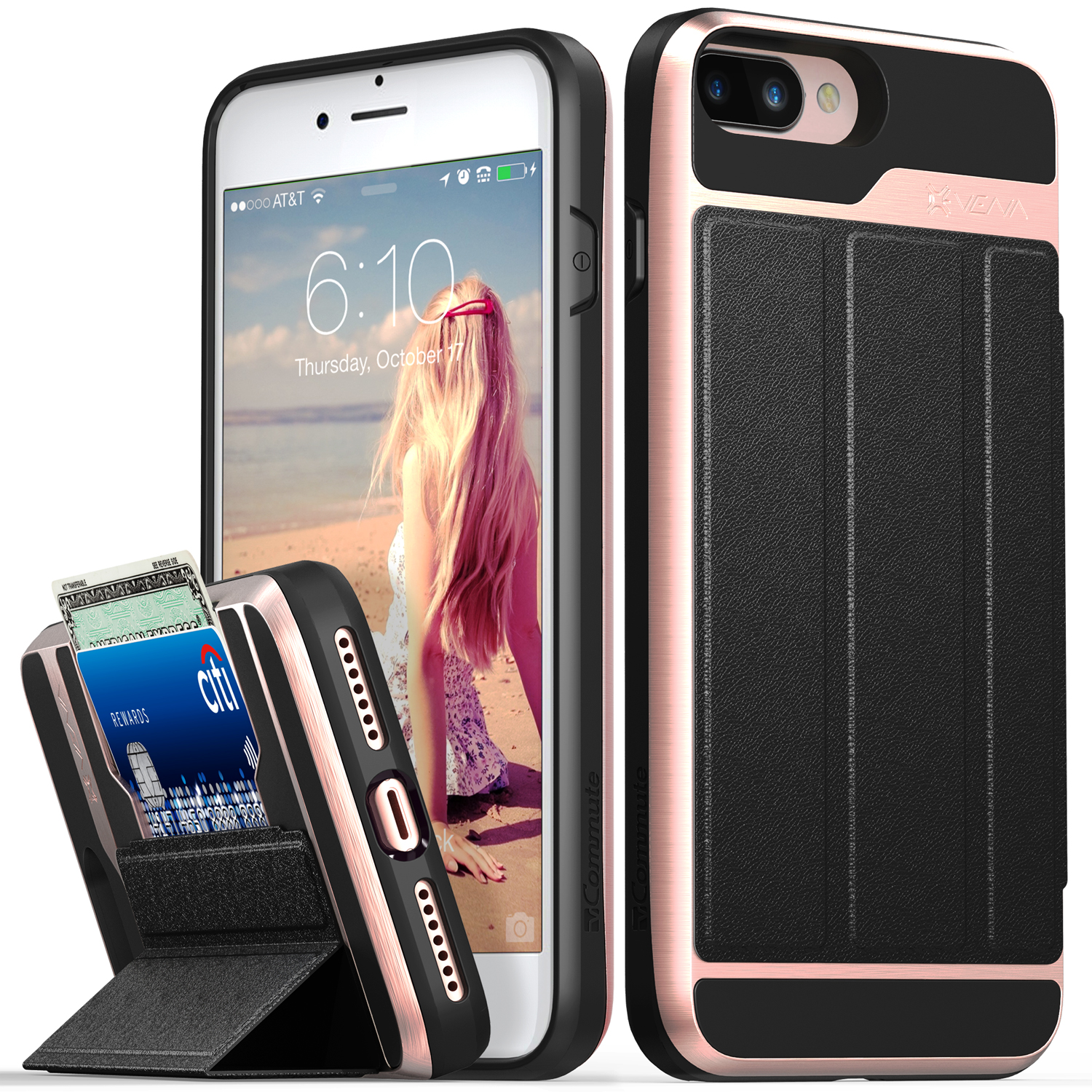 iPhone 8 Plus Wallet Case, iPhone 7 Plus Wallet Case, Vena [vCommute][Military Grade Drop Protection] Flip Leather Cover Card Slot w/ KickStand for Apple iPhone 8 Plus / 7 Plus (Rose Gold / Black)