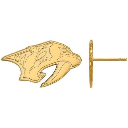 LogoArt NHL Nashville Predators 14 Karat Gold Plated Sterling Silver Small Post Earrings