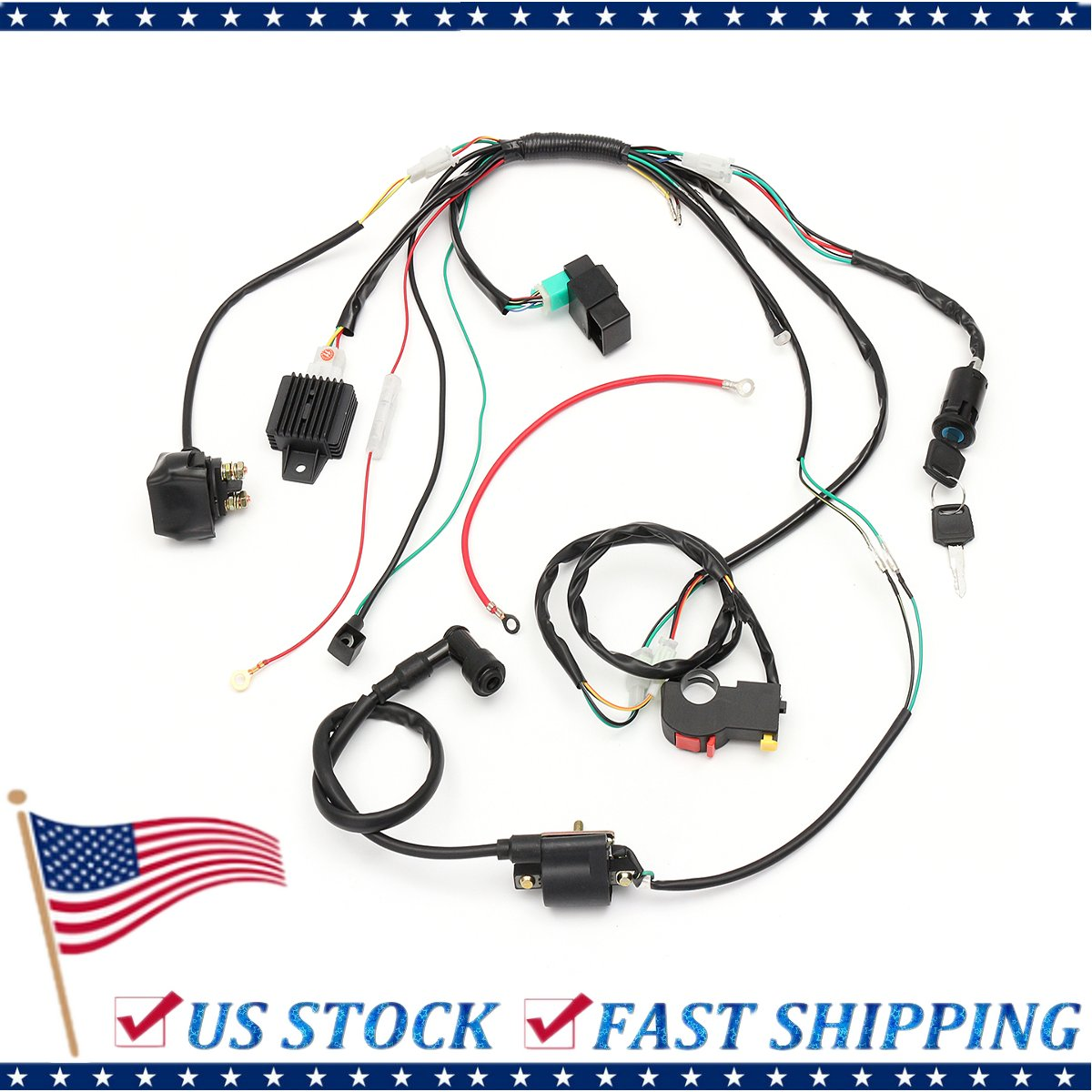 261937016244  Complete Electric Start Engine Wiring Harness Loom for 110 125cc Pit Dirt Quad Bike ATV Buggy