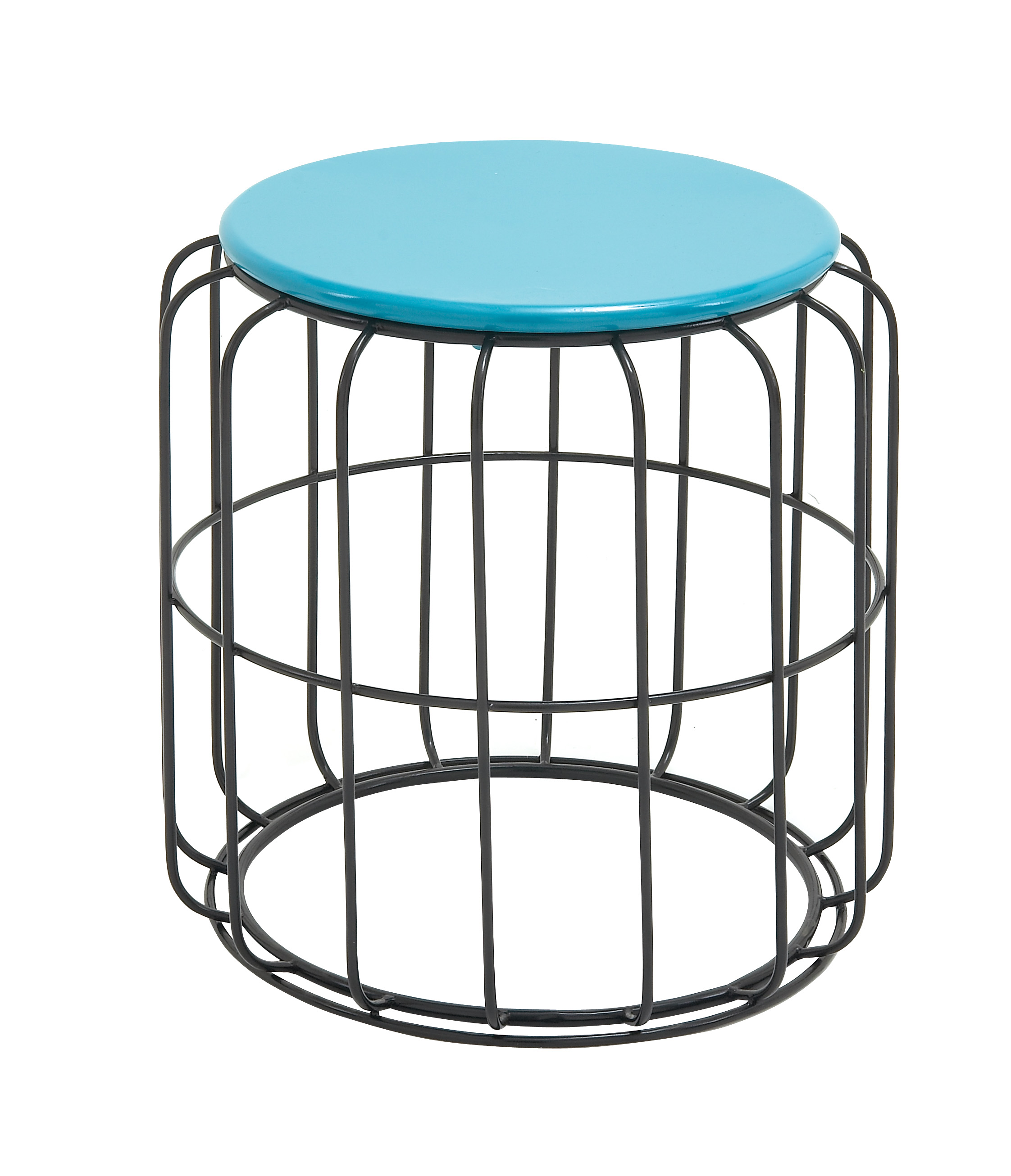 Classy Metal Accent Table In Blue And Black Color by Benzara