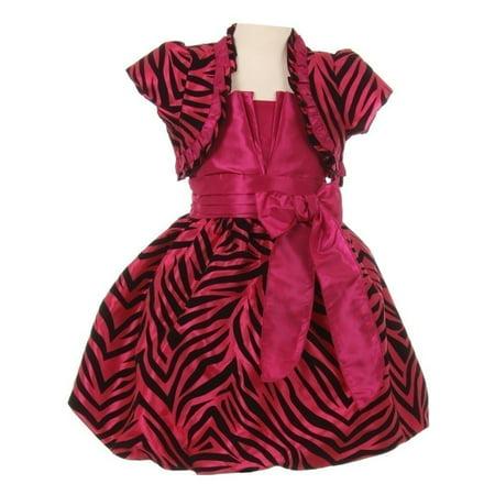 Girls Fuchsia Zebra Stripe Ribbon Tie Bolero Taffeta Christmas - Zebra Girls