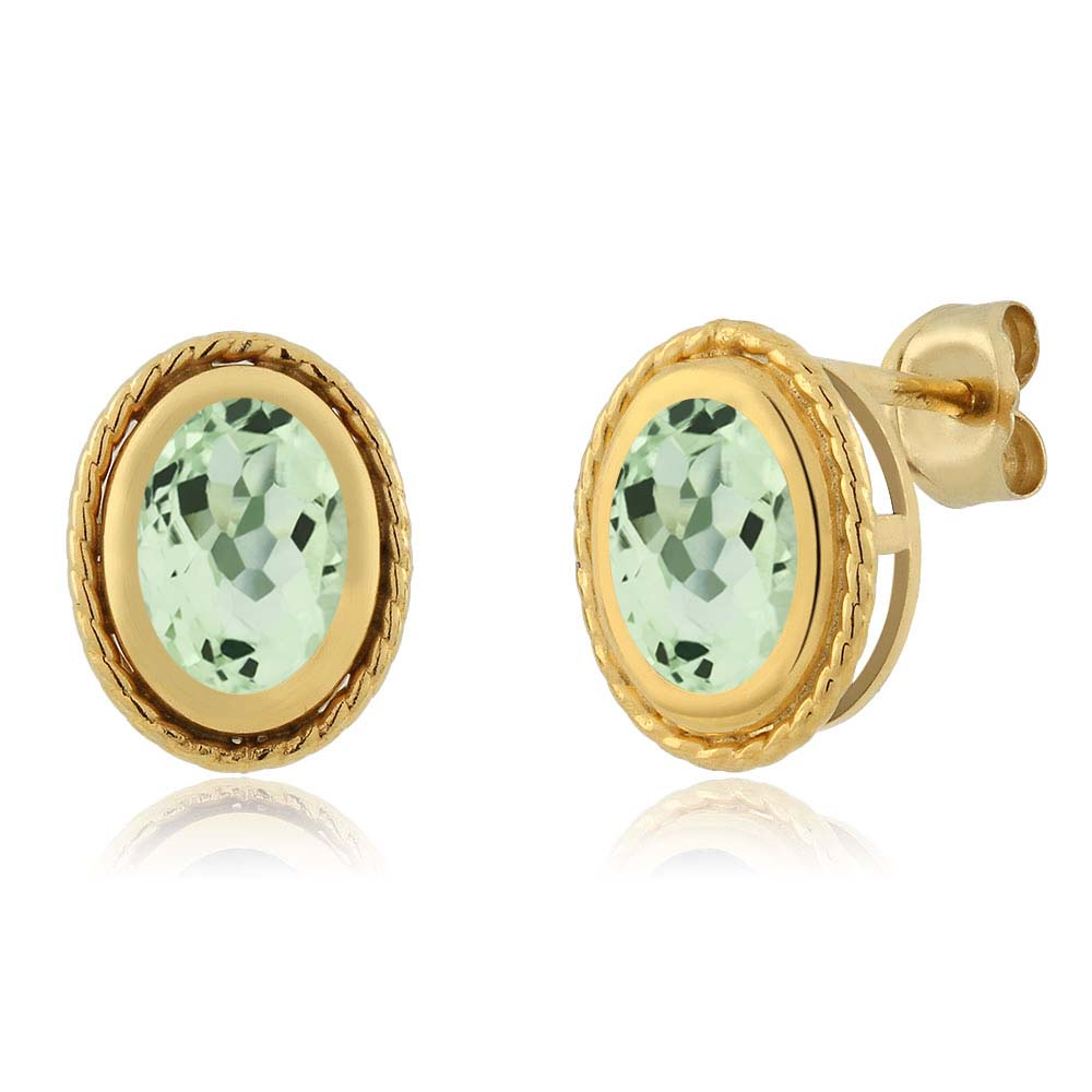 2.00 Ct Oval Shape Green Amethyst Yellow Gold Plated Silver Stud Earrings